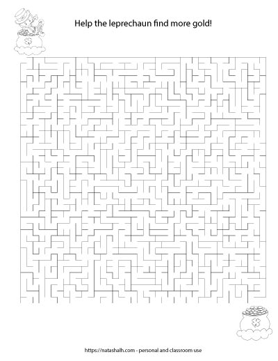 Printable difficult maze with a leprechaun and a pot of gold to color