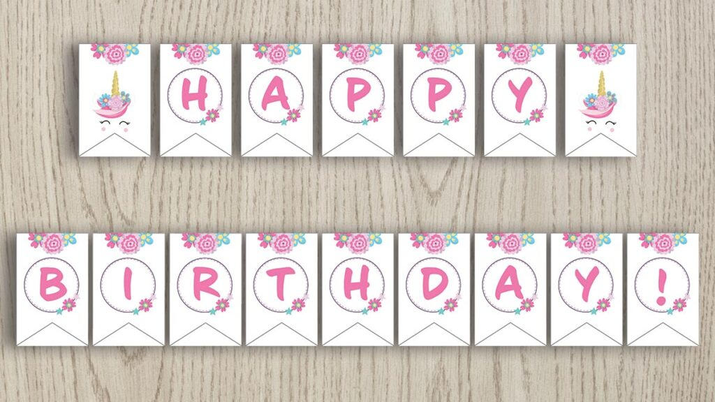 """free printable banner with flowers and unicorns that spells """"Happy birthday!"""""""