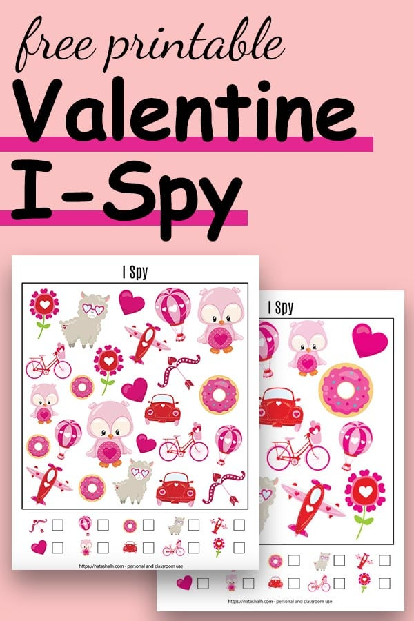 """Text """"free printable Valentine I-Spy"""" with a preview of two printable I Spy game with cartoon Valentine's images"""