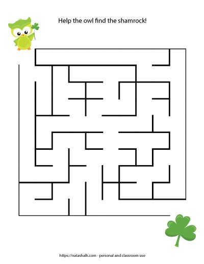 St. Patrick's Day maze printable for kids with a green owl and a shamrock