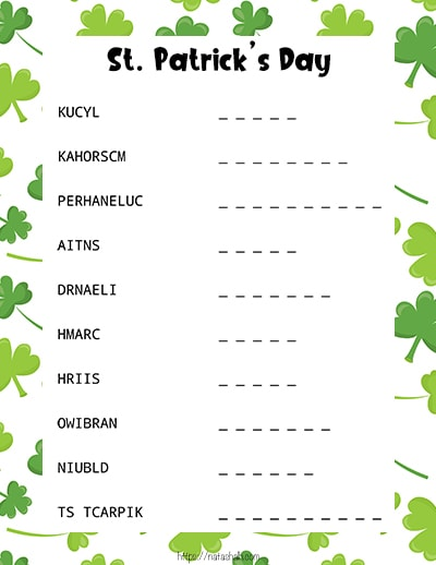 St. Patrick's Day word scramble puzzle with green shamrocks in the background.