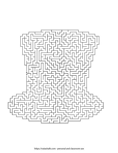 Free printable St. Patrick's Day maze shaped like a hat