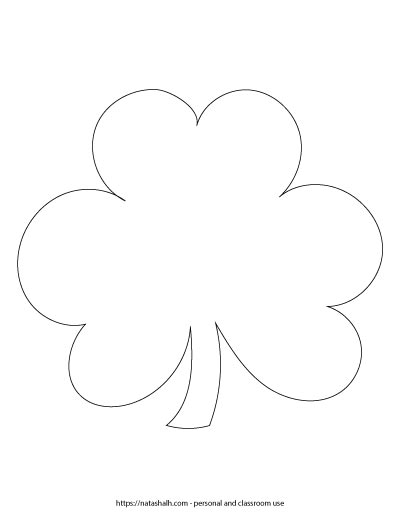 """7.5"""" wide shamrock printable template. It is a black and white outline of a three leaf clover with a stem."""
