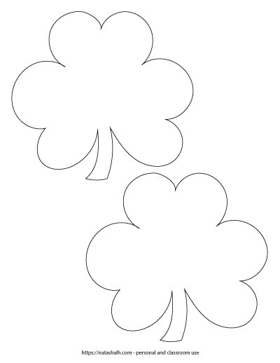 """Two 5.5"""" wide shamrock outlines on one page"""