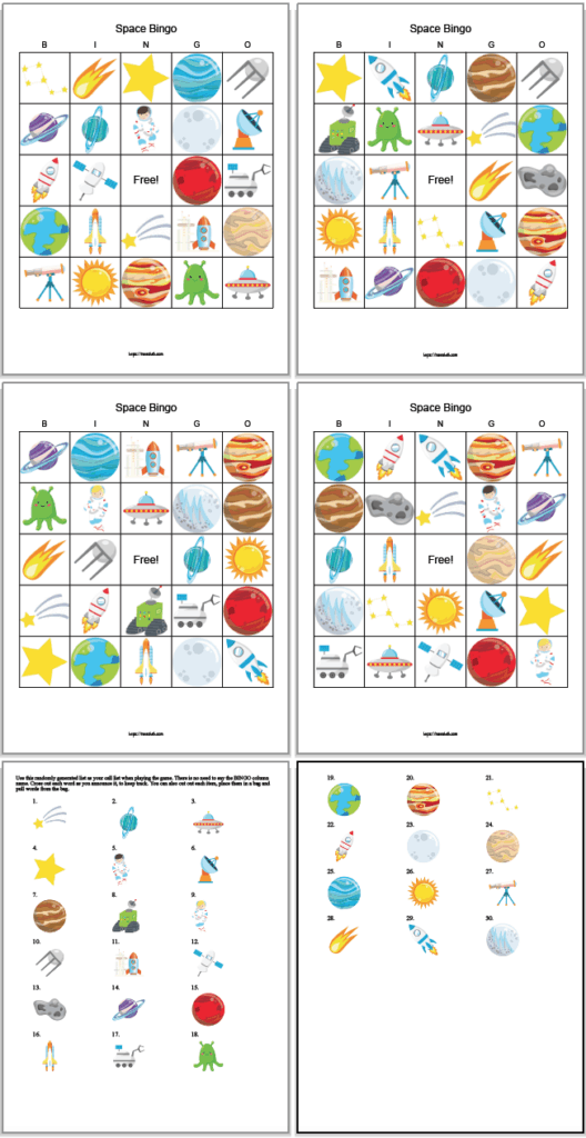four free printable space bingo cards and two call cards. The game features cartoon space images