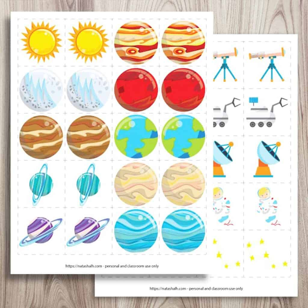 Two free printable outer space matching games. Each page has 10 pairs of images. One has cartoon planets and the other page has space images like telescopes and astronauts. Both previews are on a  wood background.