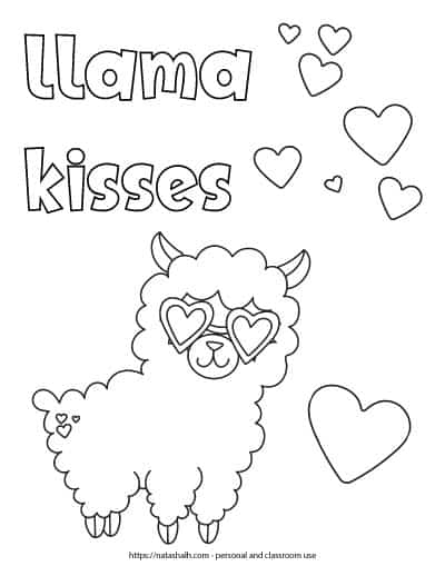 """Text """"llama kisses"""" in bubble letters in the top left corner of a printable coloring page. The page features a cartoon llama wearing heart sunglasses. There are also 8 hearts to color in the background."""