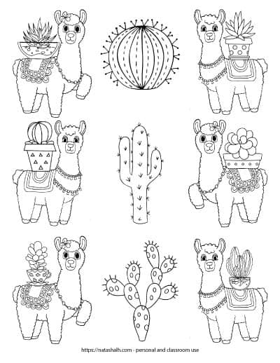 A free printable coloring page with llamas and cacti. There are 6 llamas - three down each long edge of the page. Each llama has a cactus in a pot on its back. A row of three large cacti runs down the middle of the page.