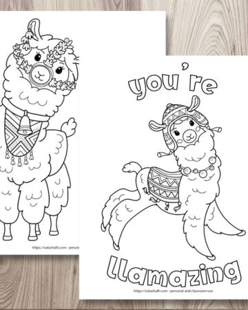 """Two free printable llama coloring pages on a wood background. The coloring pages are layered on top of one another. The front page says """"you're llamazing"""" in bubble letters with a jumping llama waring a blanket and chulo hat. The page behind is partially obscured and has a front-facing llama wearing a bell and halter made of flowers."""