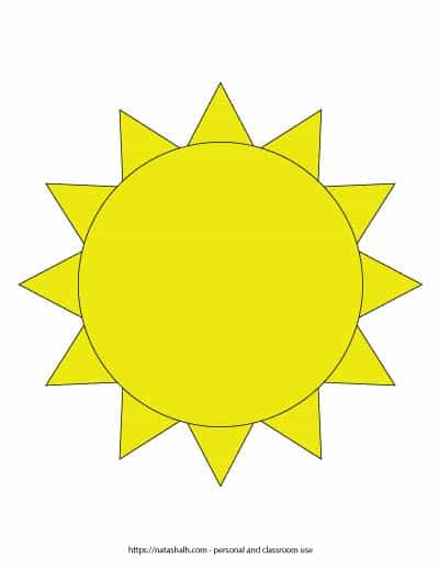 """A preview of a yellow sun template. The sun outline fills the entire page. On the bottom is written """"natashalh.com - personal and classroom use only"""""""