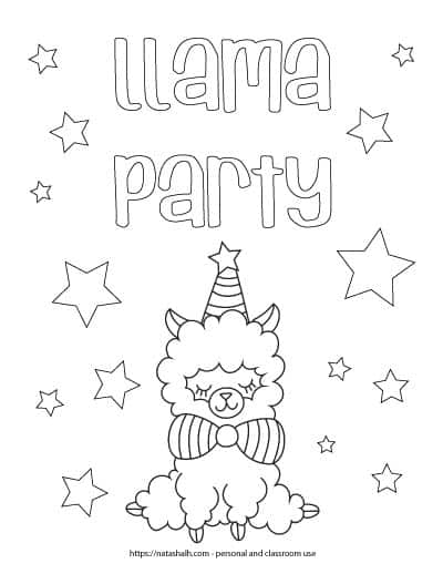 """Text """"llama party"""" in bubble letters above a sitting llama wearing a party hat and bow tie. The page is covered in stars to color."""