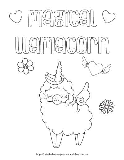 """Coloring page with the text """"magical llamacorn"""" in bubble letters with two hearts. Below the text is a cartoon llama unicorn - a cute llama wearing a unicorn horn. There are also two flowers and a heart with wings on the page."""