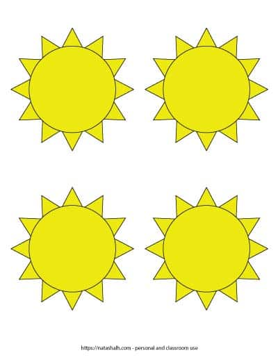 """Free printable yellow sun templates. There are four medium yellow suns in a grid. Each sun is 3.75"""" across."""