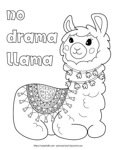 """Free printable llama coloring page with the text """"no drama llama"""" in bubble letters. The page features a large llama sitting down. The llama has a round blanket with tassels and two wraps of garland around the neck. The garland has flowers."""