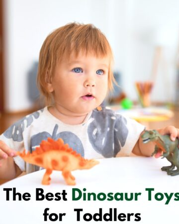 """Text """"The best dinosaur toys for toddlers"""" with an image of a toddler sitting at a white table playing with two plastic toy dinosaurs"""