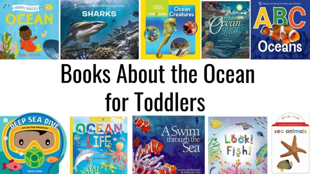 "Text ""books about the ocean for toddlers"" is centered in the image. There are 10 book covers from toddler books about the ocean and fish."
