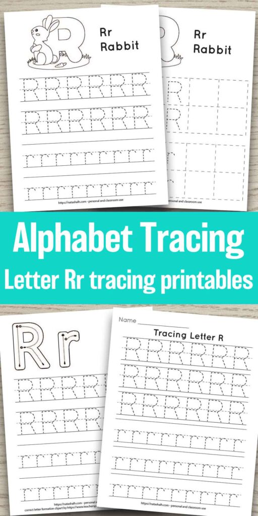 """Four printable tracing worksheets for the letter A. Each worksheet features the letter in capital and lowercase in a dotted font for easy tracing. Three worksheets have lines and one worksheet has boxes to fill in with the letter. In the center of the image is the text overlay """"Alphabet tracing Letter Rr tracing printables"""""""