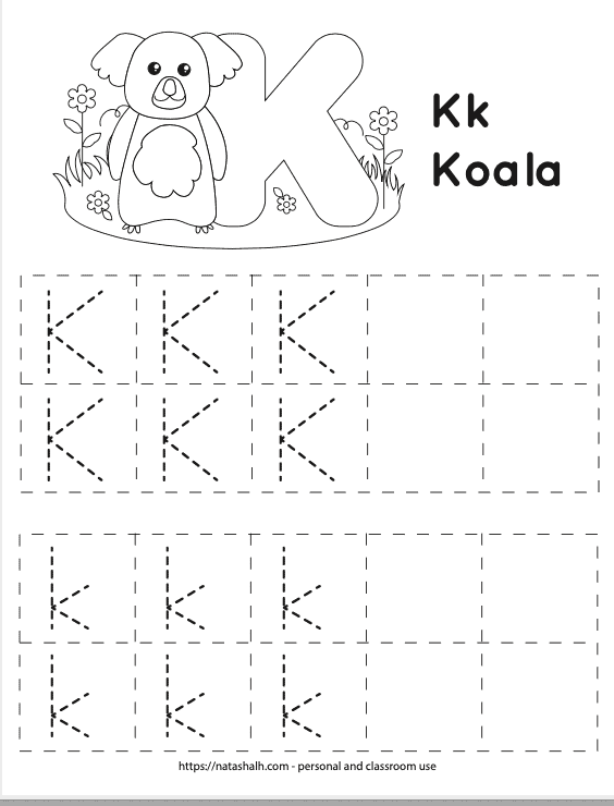 Free printable letter k worksheet with dotted uppercase k's and lowercase k's to trace. They are in boxes. There are four rows of boxes with five boxes in each row. At the top of the page is a cute koala to color and a bubble letter k.