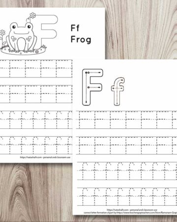 two letter f tracing worksheets on a wood background. One has correct letter formation graphics and the other has a frog to color. Both have uppercase and lowercase F's to trace