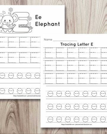 two letter e tracing pages on a wood background. Both pages feature uppercase and lowercase letter e's to trace. One page has six lines of letters. The other page has four lines to trace and an elephant to color
