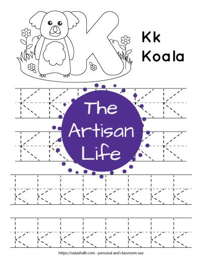 """Printable letter k tracing page with four rows of dotted k's to trace. Half are uppercase and half are lowercase. At the top of the page is a koala to color and the text """"Kk koala"""""""