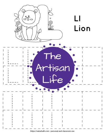 Letter l tracing worksheet with lowercase and uppercase l's in a dotted font in boxes to trace. There are four rows with five boxes in each row. Two boxes per row are blank. At the top of the page is a lion to color.