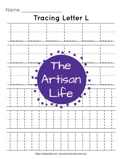 Printable letter l tracing worksheet with six lines of dotted letter l's to trace. Three lines are uppercase and three are lowercase.