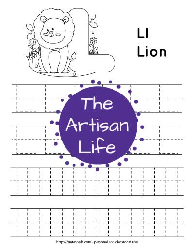 Printable preschool worksheet for tracing the letter l. There are four lines of dotted l's to trace. Half are uppercase and half are lowercase. At the top of the page is a lion and a large bubble L to color.