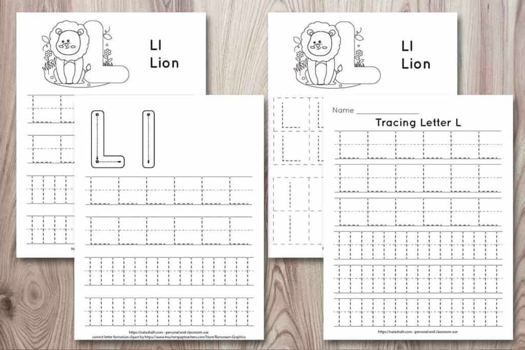 Four printable letter l tracing pages on a wood background. All feature uppercase and lowercase letter l's to trace in a dotted font. Two have a lion to color and one page has correct letter formation graphics for uppercase and lowercase l's. The last page is all lined tracing practice with no additional graphics.