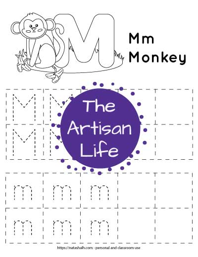Letter m tracing worksheet with lowercase and uppercase m's in a dotted font in boxes to trace. There are four rows with five boxes in each row. Two boxes per row are blank. At the top of the page is a monkey with bananas to color.