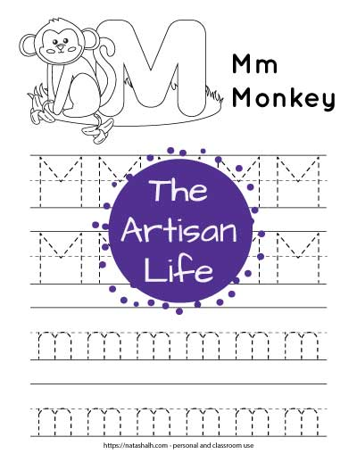 Printable preschool worksheet for tracing the letter m. There are four lines of dotted m's to trace. Half are uppercase and half are lowercase. At the top of the page is a monkey and a large bubble M to color.