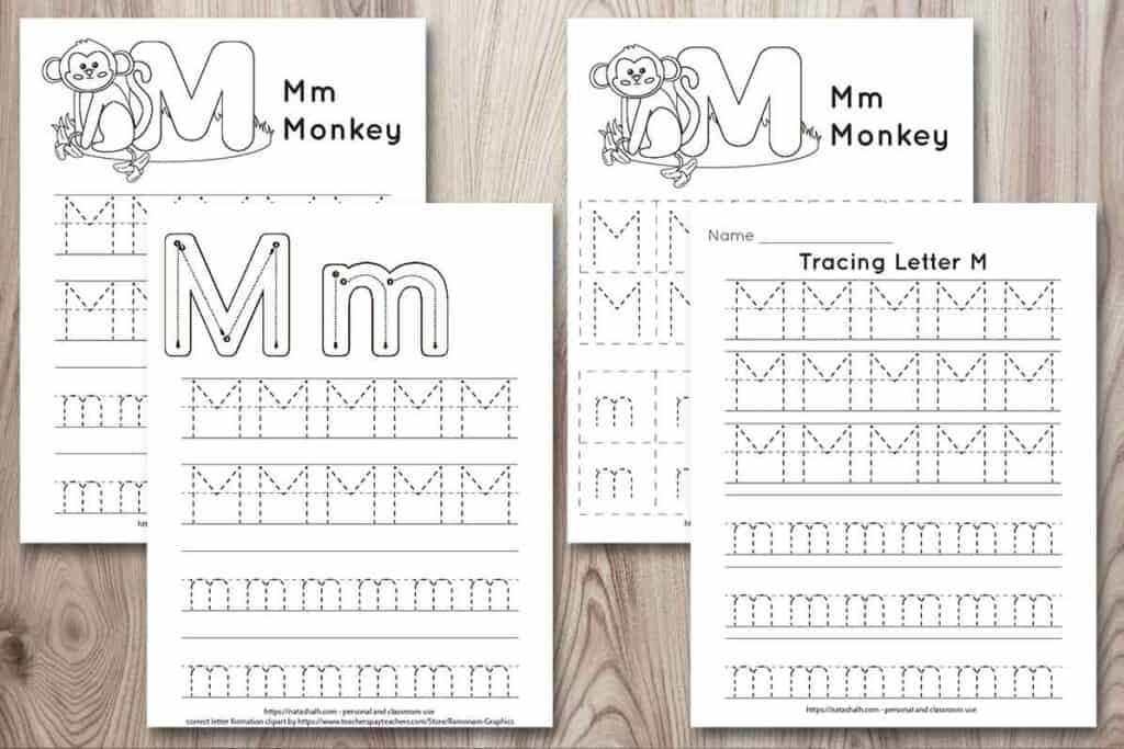 Four printable letter m tracing pages on a wood background. All feature uppercase and lowercase letter m's to trace in a dotted font. Two have a monkey to color and one page has correct letter formation graphics for uppercase and lowercase m's. The last page is all lined tracing practice with no additional graphics.