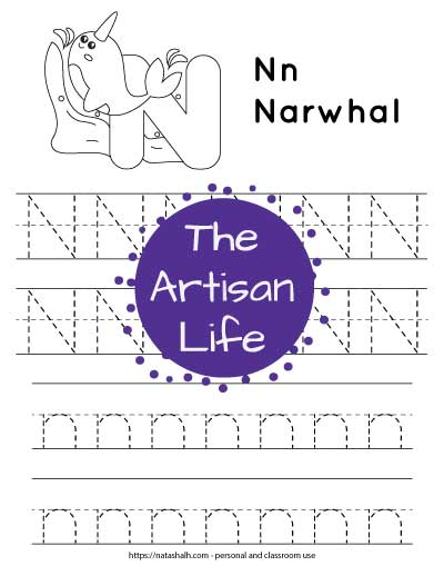 Printable preschool worksheet for tracing the letter n. There are four lines of dotted n's to trace. Half are uppercase and half are lowercase. At the top of the page is a narwhal and a large bubble N to color.