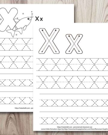 two free printable letter x tracing worksheets on a wood background. Both worksheets have two lines each of uppercase and lowercase x's to trace. The worksheet in front has correct letter formation graphics for letter x and the page behind has an x-ray fish to color