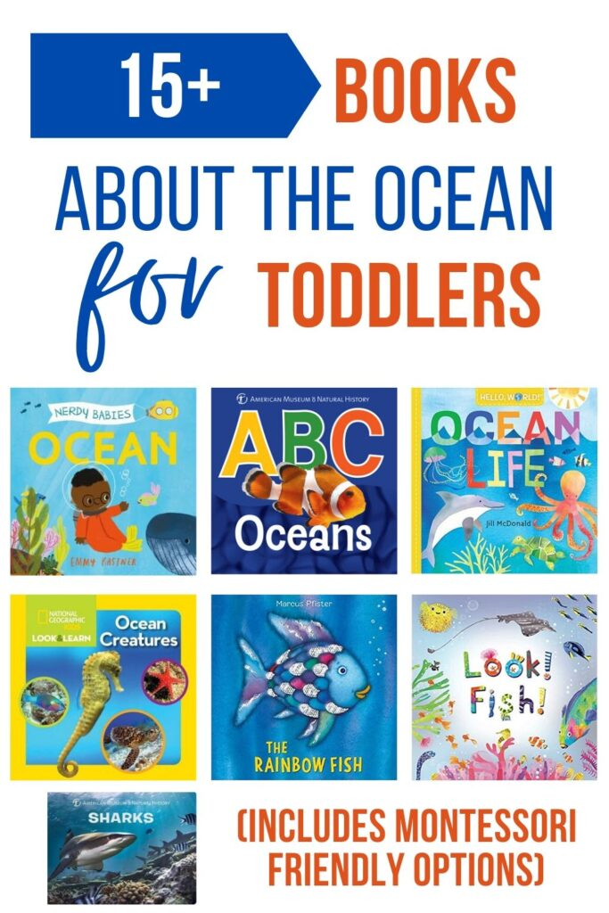 "An image collage of underwater themed board books for toddlers. Text on top reads ""the best ocean books for toddlers (includes Montessori friendly options)"