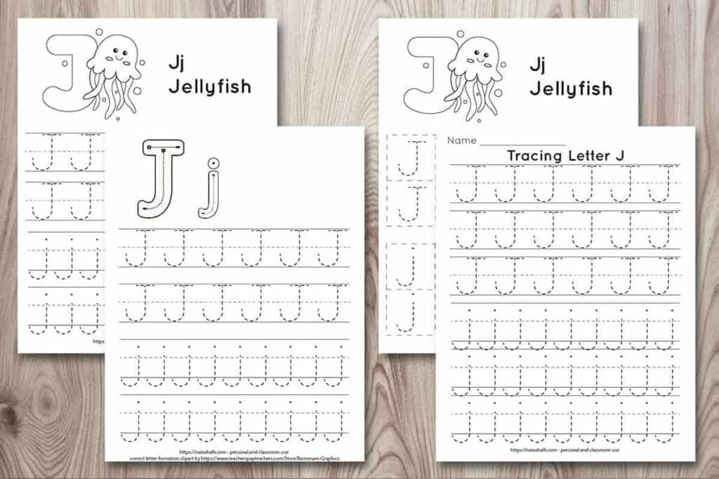 Free printable letter j tracing worksheets on a wood background. All four worksheets have uppercase and lowercase j's to trace. Two have a jellyfish to color and one has correct letter formation graphics