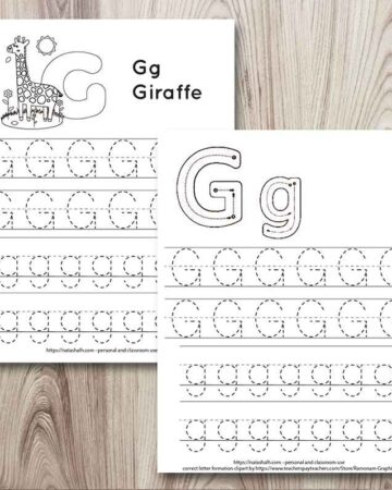 letter g tracing worksheet printables on a wood grain background. One has correct letter formation graphics for G and g. The other has a giraffe to color