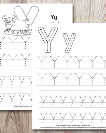 two letter y tracing printables with uppercase and lowercase letter y's to trace