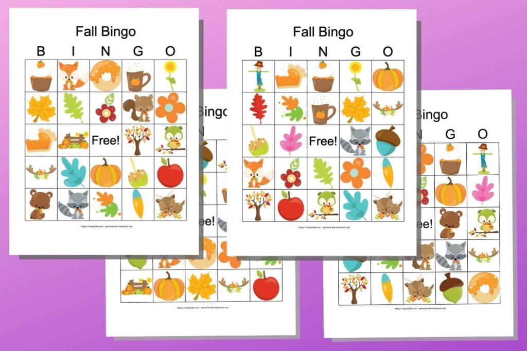 Four free printable fall harvest themed bingo cards with cartoon images like leaves, flowers, coffee, and woodland animals. They are on a purple background.