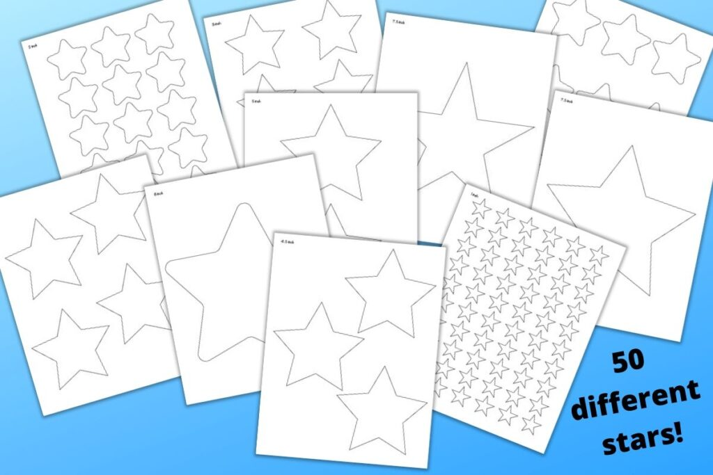 """A preview of 10 printable star templates ranging from 1"""" to 8"""" wide on a blue background and the text """"50 different stars!"""" in the lower right corner"""