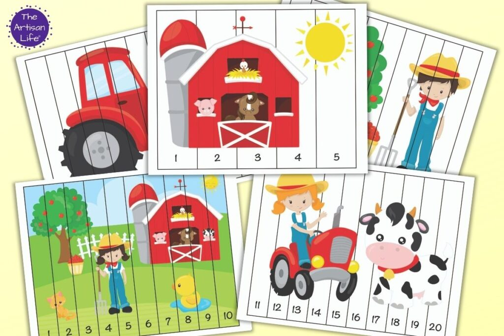 Five printable farm themed number order puzzles for preschoolers. The top image has numbers 1-5 with a barn full of animals and a sun. Below is a farm scene with numbers 1-10 and a girl on a tractor with a cow and numbers 11-20. In the back are two partially hidden puzzles. One features a red tractor and the other has a boy next to an apple tree.