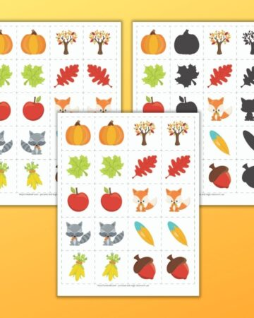 a preview of three fall printable matching card games for toddlers and preschoolers. The games are on an orange background. All three feature 10 different cartoon fall related images like apples, pumpkins, and leaves. One page of cards has 10 sets of exact image match cards. Behind and to the left is a set of mirror image matching cards. To the right is a set of shadow matching cards.