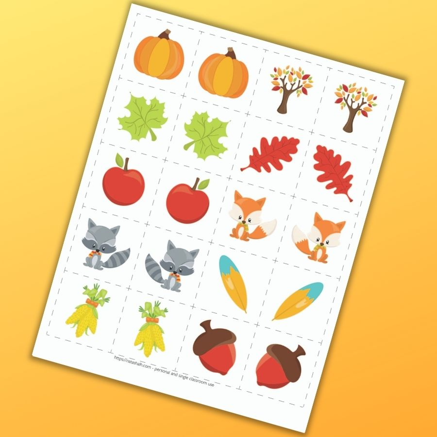 A set of fall themed cute cartoon matching cards for toddlers and preschoolers. There are 10 mirror image pairs of cards to cut out with fall themed images like a pumpkin leaves, apples, across, and corn.