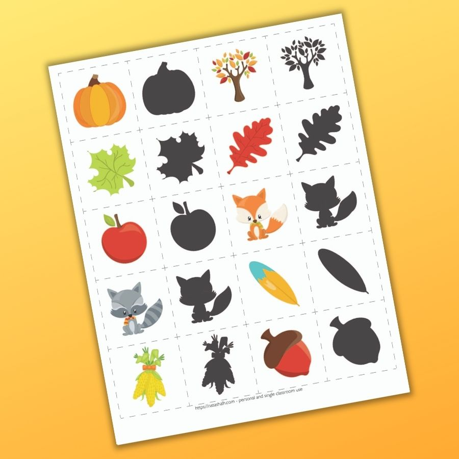 A set of fall themed cute cartoon matching cards for toddlers and preschoolers. There are 10 shadow matching pairs of cards to cut out with fall themed images like a pumpkin leaves, apples, across, and corn. One image in each pair is in full color and the other is a grey shadow.