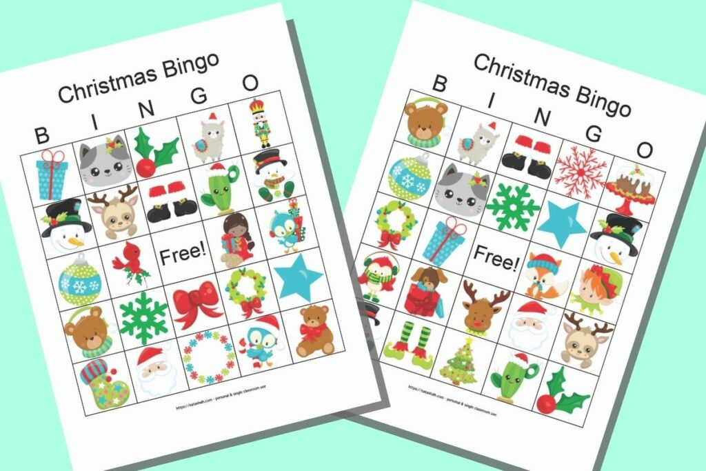 Two free printable secular Christmas picture bingo cards with cute cartoon images on a mint green background