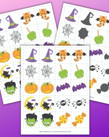 three free printable Halloween matching card games on a purple background. All three feature the same 10 basic cute cartoon images. One page has exact matches. Another page has a shadow matching game and the third page features mirror image pictures.