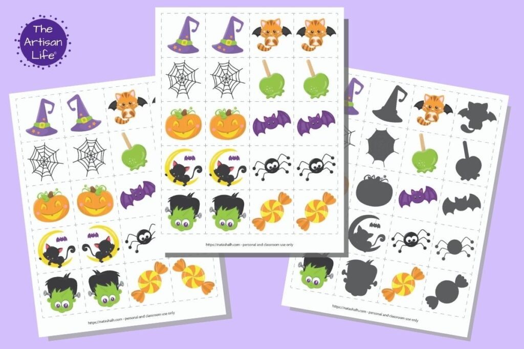 These free printable Halloween matching cards for toddlers and preschoolers are an easy low-prep activity for kids at home! Pick from a hall