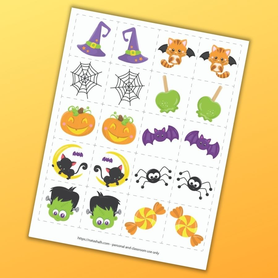 """A page with 10 cute cartoon Halloween images and their mirror image matches. Each image is in a 2"""" dotted square to cut out and use as a matching game. The preview is on an orange background."""