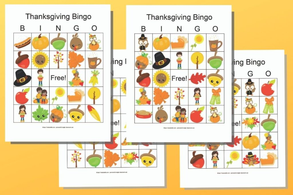 Four free printable Thanksgiving bingo cards with cute cartoon images on an orange background