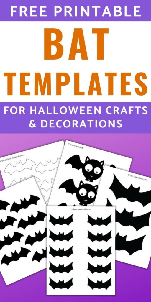 "text ""free printable bat templates for halloween crafts & decorations"" Below the text is a purple gradient with previews of 5 printable bat templates and outlines. Bats include 3"" black bats. 4' black bats, 6"" black bat, cute vampire bats, and 4"" bat silhouettes"